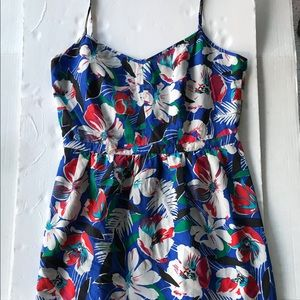 Printed Seaside Cami Dress Blue Floral Size 10